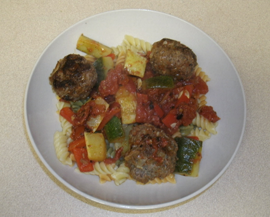 Pasta with Meatballs and Vegetable Sauce